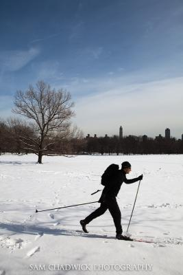Skier in Central Park New York